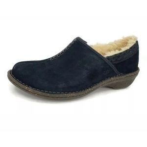 New Ugg Bettey Black Shearling Moccasin Slip Ons